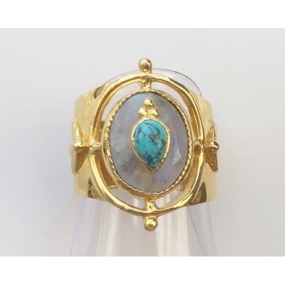 Bague chevalière pierre de lune incrusté pierre de lune plaqué or Collection Mila Leticia Ponti