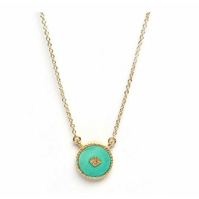 Collier Turquoise ronde plaqué or collection sanja Be Maad