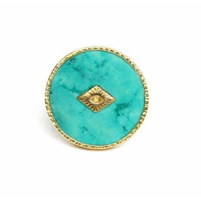 Bague Turquoise ronde plaqué or collection sanja Be Maad