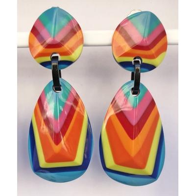 Boucles d'oreilles clips V multicouleurs Marion Godart
