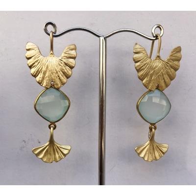 Boucles d'oreilles clous ailes et gIngko calcédoine aqua et plaqué or LA BELLE SIMONE BIJOUX