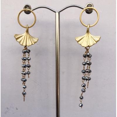 Boucles d'oreilles percées ginkgo perles labradorite et plaqué or LA BELLE SIMONE BIJOUX