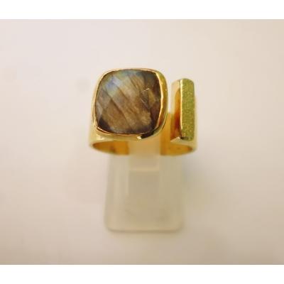 bague carrée en pierre labradorite véritable et plaquée or, réglable Shan-Shan