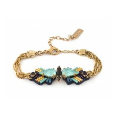Bracelet cristaux Swarovski bleutés perles du japon alcantara métal doré collection Emma Bijoux Satellite