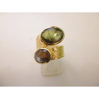 bague en 2 pierres labradorite véritables et plaquée or, réglable Shan-Shan