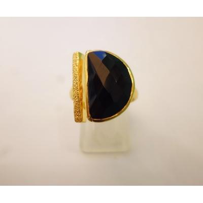bague en pierre onyx noir véritable et plaquée or, réglable Shan-Shan
