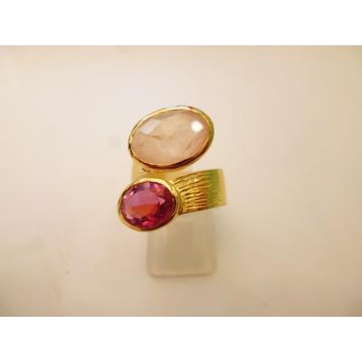 bague en 2 pierres calcédoine rose véritables et plaquée or, réglables Shan-Shan