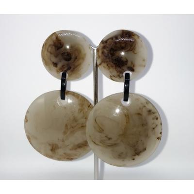 Boucles d'oreilles clips gris marbré Marion Godart