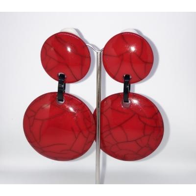 Boucles d'oreilles clips rouge craking Marion Godart