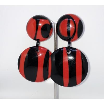 Boucles d'oreilles clips zebre noir et rouge Marion Godart