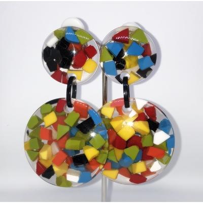 Boucles d'oreilles clips confettis multicouleurs résine Marion Godart