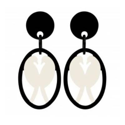 Boucles d'oreilles clips oiseau noir et blanc MARION GODART