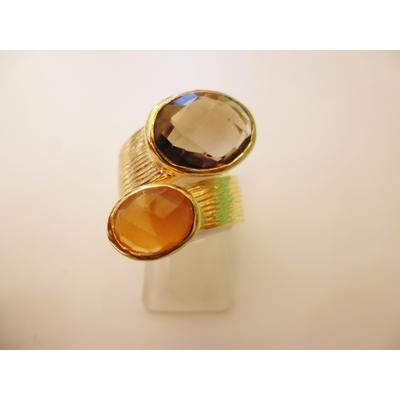 bague en 2 pierres topaze fumé et citrine véritables et plaquée or, réglable Shan-Shan
