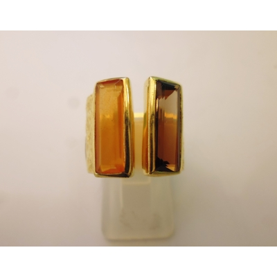 bague en 2 pierres rectangulaires  topaze fumé véritables et plaquée or, réglable Shan-Shan