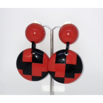 Boucles d'oreilles clips damier noir et rouge Marion Godart