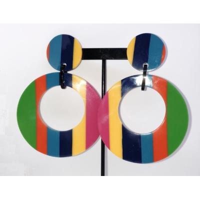 Boucles d'oreilles clips grandes créoles rayures multicouleurs Marion Godart