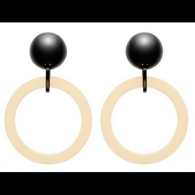 Boucles d'oreilles clips créoles noir et ivoire  Marion Godart