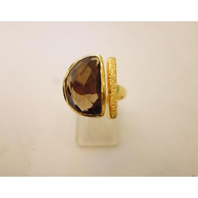 bague en pierre topaze fumé véritable et plaquée or, réglable Shan-Shan