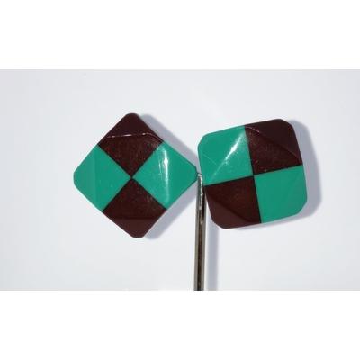BO cabochon damier chocolat et vert résine clips Marion Godart