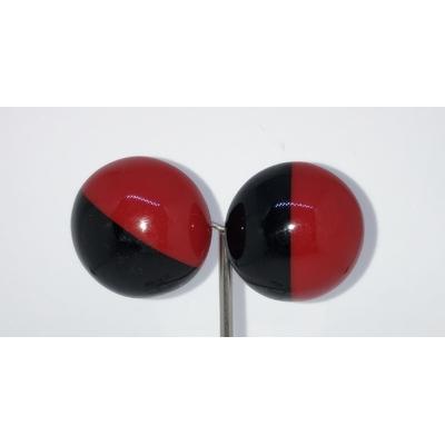 Boucles d'oreilles clips cabochon duo noir et rouge résine Marion Godart