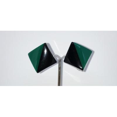 Boucle d'oreilles clips club noir et vert Marion Godart