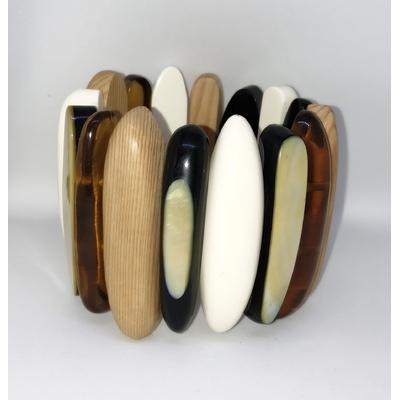 Bracelet bois nacre résine élastiqué Marion Godart