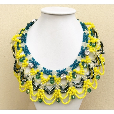 Collier jaune et bleu perles de verre facettées Marion Godart