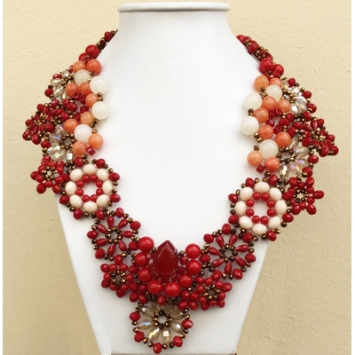Collier rouge et blanc perles de verre facettées Marion Godart