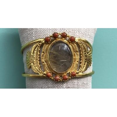 Bracelet Manchette Dakota Pierre de lune Plaqué or L'atelier Plume