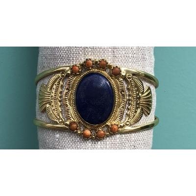 Bracelet Manchette Dakota Pierre Lapis Lazuli Plaqué or L'atelier Plume