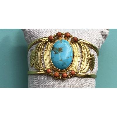 Bracelet Manchette Dakota pierre Turquoise Plaqué or L'atelier Plume
