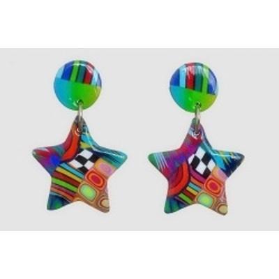 boucles d'oreilles argile polymère étoile 5 branches vert Liz Créations