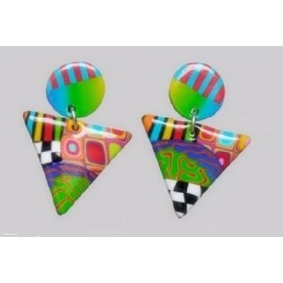 boucles d'oreilles argile polymère triangle vert Liz Créations