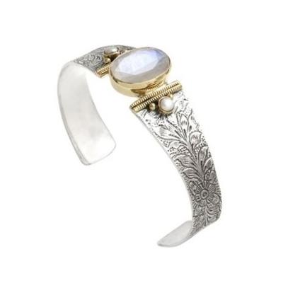 Bracelet jonc argent et laiton pierre de lune 2 perles rondes - Canyon