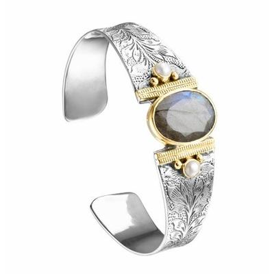 Bracelet jonc argent et laiton labradorite 2 perles rondes - Canyon