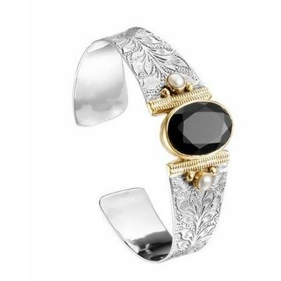 Bracelet jonc argent et laiton onyx noir 2 perles rondes - Canyon