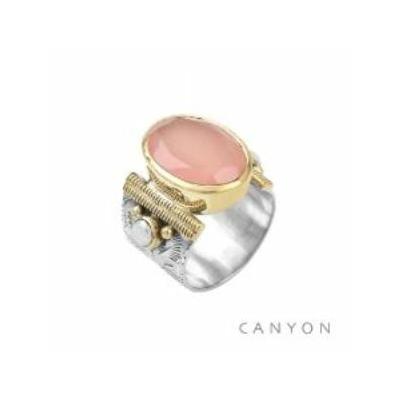 Bague argent 925 calcédoine rose ovale et 2 perles - Canyon