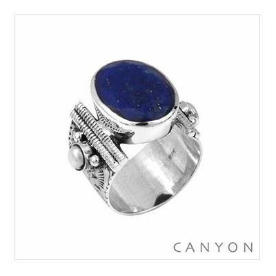 Bague Canyon en argent 925 pierre ovale Lapis lazuli Canyon