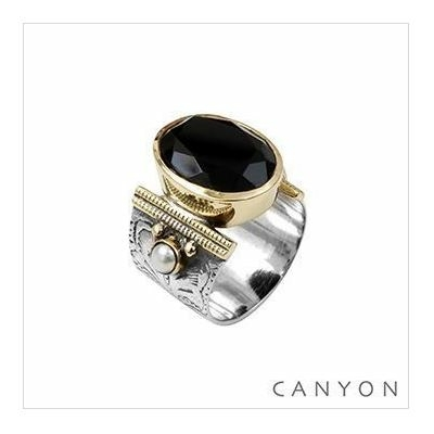 Bague argent 925 onyx noir ovale et 2 perles sertis - Canyon