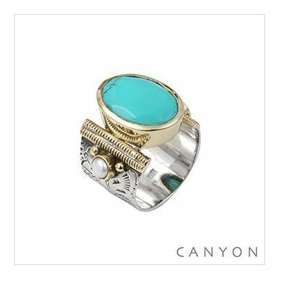Bague argent 925 turquoise ovale et 2 perles - Canyon