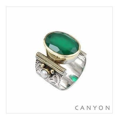 Bague argent 925 quartz vert ovale et 2 perles - Canyon