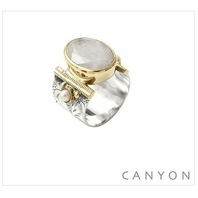 Bague argent 925 pierre de lune ovale et 2 perles - Canyon