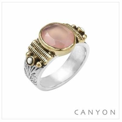 Bague argent 925 petit modèle calcédoine rose ovale et 2 perles blanches - Canyon