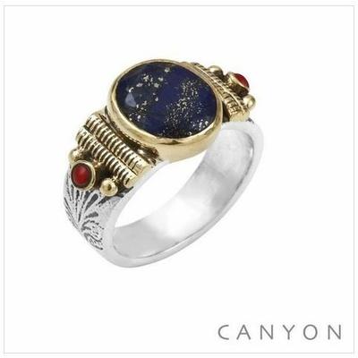 Bague argent 925 petit modèle Lapis Lazuli ovale et 2 corails rouge - Canyon