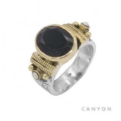 Bague argent 925 petit modèle onyx noir ovale et 2 perles blanches - Canyon