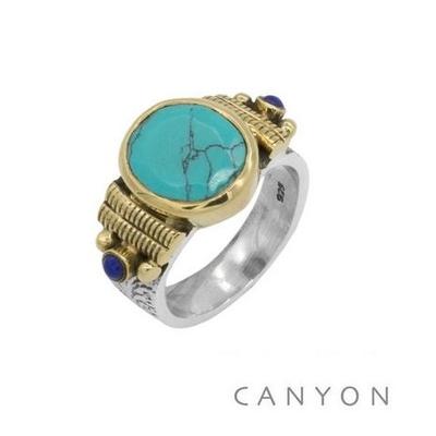 Bague argent 925 petit modèle turquoise reconstiruée ovale et 2 perles turquoise - Canyon