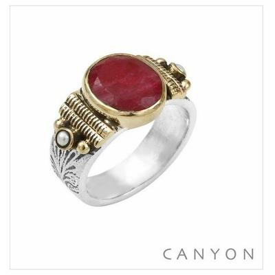 Bague argent 925 petit modèle pierre sillimanite teintée rouge ovale et 2 perles blanches - Canyon