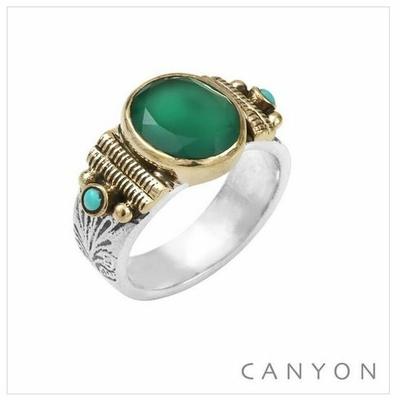 Bague argent 925 petit modèle onyx vert ovale et 2 turquoises reconstituées - Canyon