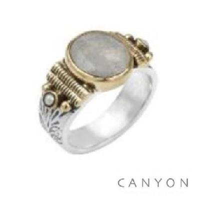 Bague argent 925 petit modèle pierre de lune ovale et 2 perles blanches - Canyon