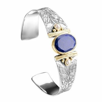 Bracelet jonc argent et laiton lapis lazuli 2 perles rondes - Canyon